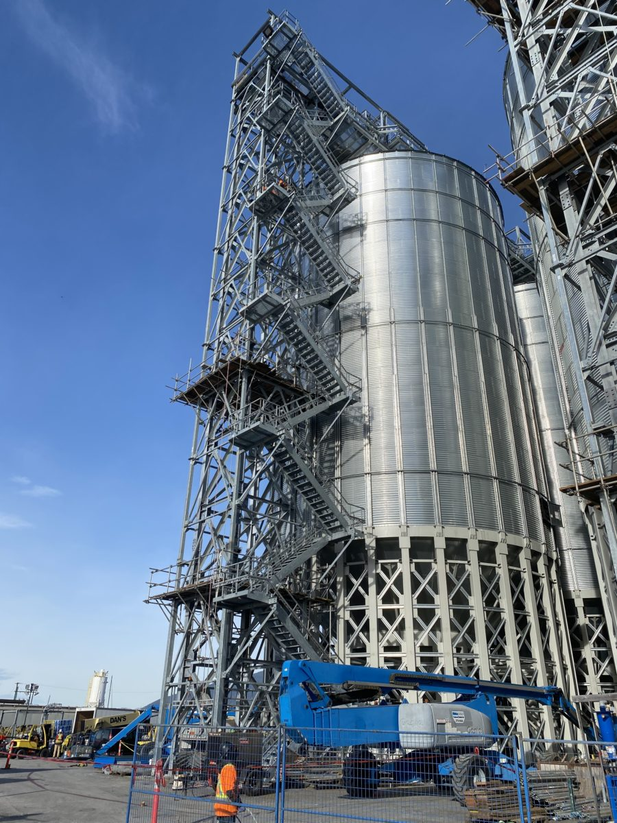 Industrial Tower access via scaffolding stair towers